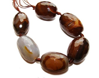 Brown Faceted Rice Agate Gemstone Beads