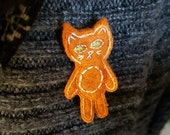 Orange Tabby Cat Brooch with Varigated Thread Spring Clearance Sale 50% off
