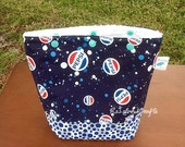 Blue Pepsi dot fabric small knit/crochet project bag, lunch bag