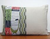 Stunning Vintage Fabric Cushion Cover Mid Century Modern Pillow BIRDS