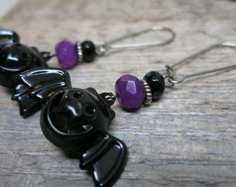 Trick or Treat - Grinning Bats earrings ... spooky smiling bats / onyx / purple jade