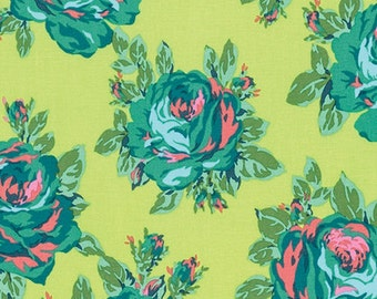 Amy Butler Eternal Sunshine Rose Lore in Lemon cotton quilt fabric - one yard or by the yard, amy butler fabric