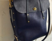 Indigo and black diplomat tote