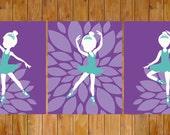 Instant Download Little Ballerina Dancer Ballet Nursery Wall Decor Purple Teal Turquoise Little Girls Room Flower Burst 8x10 JPG files (233)