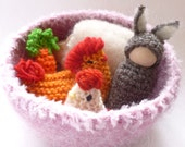 Easter basket set Waldorf inspired bunny,hen and egg, carrot,lamb ready to ship