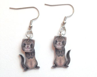 Handcrafted Plastic Ferret 3D Earrings