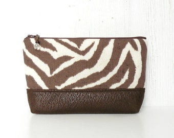 SALE - Large Zipper Pouch, Fabric Cosmetic Case, Zippered Makeup Bag -  Zebra Stripe in Brown and Cream