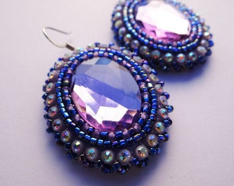 Dark Blue & Lavender Beaded Earrings