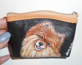 Red Pomeranian Dog  Hand Painted Leather Coin Purse Vegan Mini Wallet