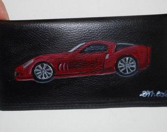 Corvette Car Any car Model Custom Painted Leather Checkbook Cover