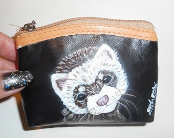 Ferret Hand Painted faux Leather Coin Purse