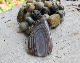 SALE Mother Earth Keeps Me Grounded || Natural Jasper | Botswana Agate Pendant | Earthy | Organic | Hand-knotted Stone and Agate Necklace