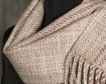 Handwoven merino wool scarf / winter scarf / beige / almond