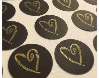 50 Black & Gold Stamped Heart 2 inch Circle Tags Hand Punched