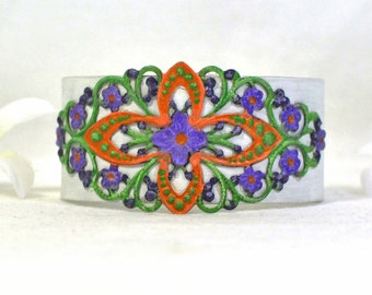 Rainbow Cuff - Floral Violet Cuff Bracelet  -Flowered Purple Green Cuff Jewelry - Violet and White Cuff Bracelet - Gift for Her - Boho Chic