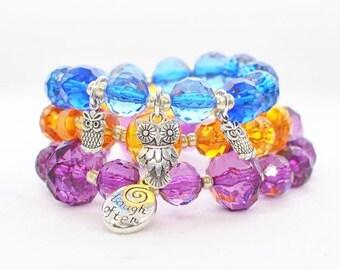 Stackable Beaded Boho Chic Bohemian Elastic stretch bracelets - Crystal Stretch Bracelet Love, Laugh and Hoot - Blue Yellow Purple Bracelets