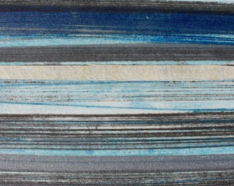 Stripes 94 - blue, brown, gray striped Collagraph hand-pulled print - 4.25 x 4.25 inches OOAK