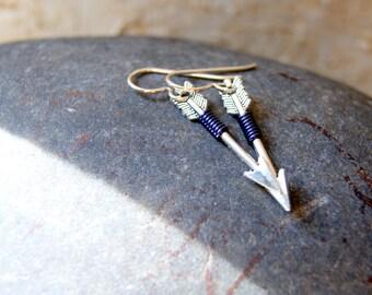 Navy Blue Wire Wrapped Silver Arrow Earrings - Silver Arrow Earrings - Arrow Earrings - bohemian jewelry - Sagittarius