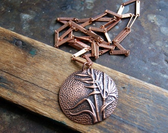Bamboo Pendant Necklace - Vintage Antiqued Copper Pendant with Vintage Copper Plated Chain - FREE GIFT WRAP