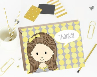 Thank You Note Cards for Kids - Sunny Dots - Set of 10