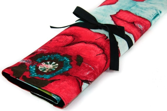 Large Knitting Needle Case Organizer - Big Poppy - Multi 30 Black Pockets for dpns, circulars and straights