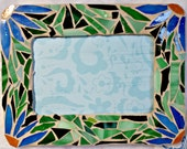 Mosaic picture frame, mosaic floral, 4 x 6 picture frame