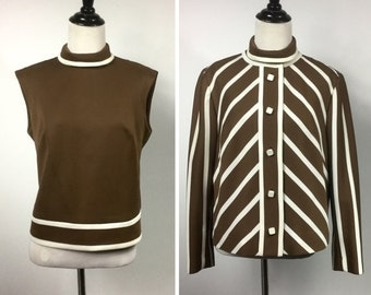 Brown Striped Jacket and Top Matching Set - Diagonal White Stripes, Square Buttons - Coffee Brown Sleeveless Shell Top - Vintage 60s Outfit
