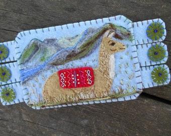 Animal Fiber Art, Animal embroidery, Llama Art,  Drink coaster, Handmade Penny Rug, Wool Felt Coaster