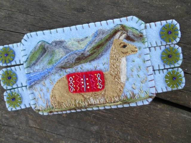 animal fiber art animal embroidery llama art drink