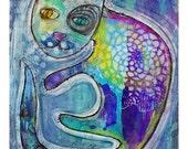 whimsical, cat, kitten, feline, mixed media, cat art