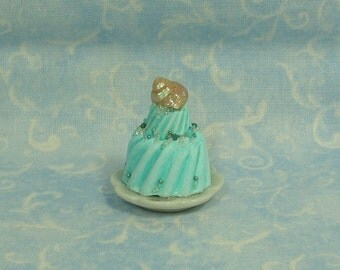 Dollhouse Miniature Summer Two Layer Cake on Porcelain Plate