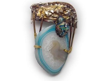 teal blue  druzy agate slice  necklace pin pendant with dichroic Sterling Married Metals    by Cathleen McLain McLainJewelry