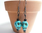 Petite Skull Earrings, Boho Chic Jewelry, Dyed Howlite Skull Beads, Blue Black Hippie Earrings, Hipster, Dia de los Muertos, Day of the Dead