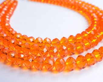 Jennifer - Orange Glass Beaded Statement Necklace