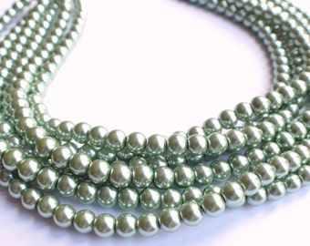 Michelle - Sage Green Pearl Bridesmaid Statement Necklace