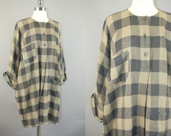 vtg 80s Cathy Hardwick Beige & Grey checker gauzy long sleeve artsy minimalist mini dress sz S/M/L