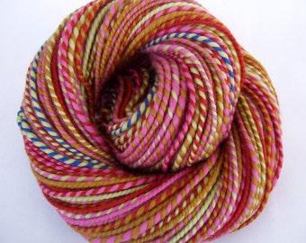 Handspun merino yarn, self striping yarn, bulky yarn, chunky yarn, dolls hair, pink, orange, green, ocre, FIND THE PANSY, 4.1oz, 122yds