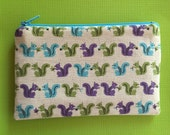 Technicolor Squirrels - Small Zipper pouch - Kawaii Pouch, Zipper Pouch, Coin Purse