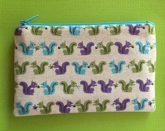 Squirrels print zip pouch - kawaii pouch - zipper pouch - change purse - coin purse - cute wallet
