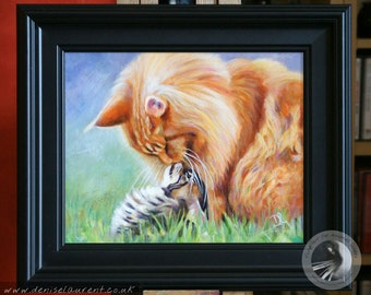 Framed Original Cat and Kitten Painting - Two Maine Coon Cats Kissing Noses - Framed Original - Kitty Painting - Cat Art