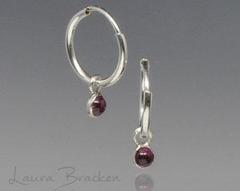 Tiny Rhodolite Garnet and Sterling Silver Hoop Earrings