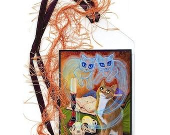 SALE Witch Cat Bookmark Ghost Cats Skulls Spells Magic Gothic Bookmarker Fantasy Cat Art Mini Bookmark Gift For Cat Lover
