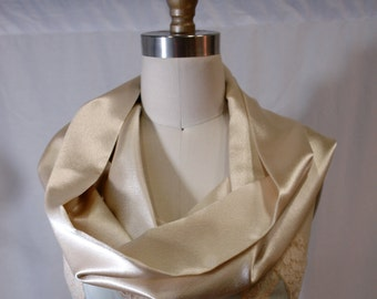 Simple Champagne Satin Infinity Shawl Scarf