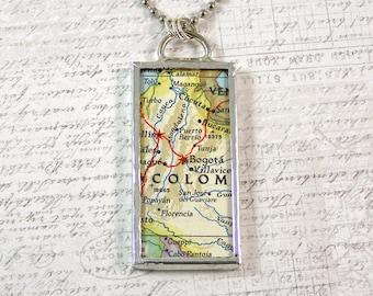 Bogota Colombia Map Pendant Necklace