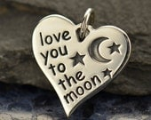 Love You To The Moon sterling silver heart charm or pendant. Add to your necklace or bracelet.