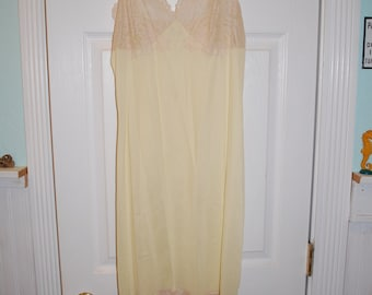 1960's Light Yellow Nylon Slip with Ecru Lace