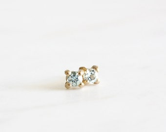 14k gold aquamarine stud earrings, march birthstone, handmade