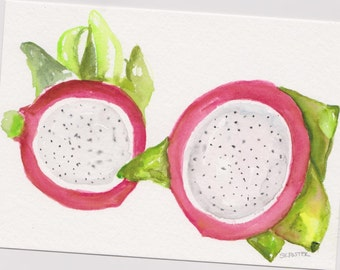 Dragon Fruit original watercolor painting 5 x 7 Fruit artwork, Pitaya Food art, food illustration, original watercolor painting dragon fruit