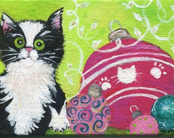 Christmas Cat acrylic painting canvas art, mini painting on canvas panel, ornaments, Cat holiday decor acrylic painting