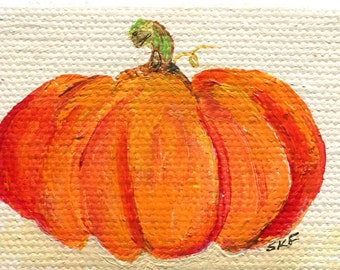 Tiny pumpkin mini canvas art, Original, Easel 2 x 3 miniature painting pumpkin, kitchen decor, acrylic painting, SharonFosterArt